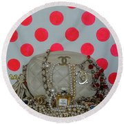 Chanel And Pink Polka Dots Round Beach Towel