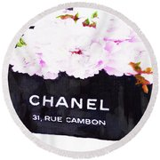 Chanel Bag With Peony  Round Beach Towel