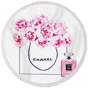 Chanel Bag With Pink Peonys Round Beach Towel