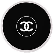 Chanel - Black And White 02 - Lifestyle And Fashion Round Beach Towel