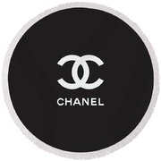 Chanel - Black And White 03 - Lifestyle And Fashion Round Beach Towel