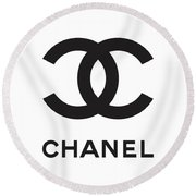 Chanel - Black And White 04 - Lifestyle And Fashion Round Beach Towel