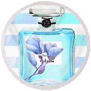 Chanel Blue Decor Round Beach Towel