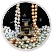 Chanel Coco With Pearls Round Beach Towel