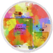 Chanel Five Watercolor Round Beach Towel