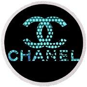Chanel Light Blue Points Round Beach Towel