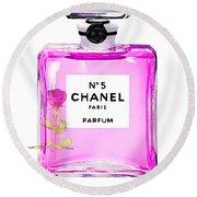 Chanel N 5 Perfume Print Round Beach Towel