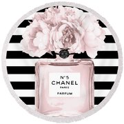 Chanel N.5, Black And White Stripes Round Beach Towel