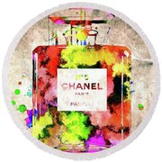 Chanel No. 5 Colored  Round Beach Towel