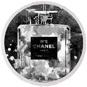 Chanel No. 5 Dark Round Beach Towel