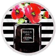 Chanel Noir Perfume With Corn Poppy Round Beach Towel