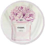 Chanel Peonies Round Beach Towel