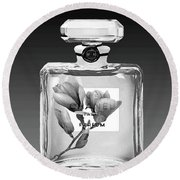 Chanel Perfume Black Flower Round Beach Towel