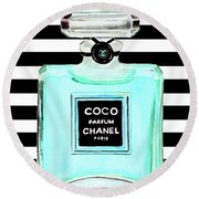Chanel Perfume Turquoise Chanel Poster Chanel Print Round Beach Towel