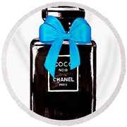 Chanel Perfume With Blue Ribble Round Beach Towel
