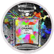 Chanel Rainbow Colors Round Beach Towel