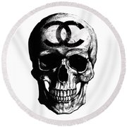 Chanel Skull Black Round Beach Towel