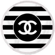 Chanel - Stripe Pattern - Black And White 2 - Fashion And Lifestyle Round Beach Towel