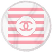 Chanel - Stripe Pattern - Pink - Fashion And Lifestyle Round Beach Towel