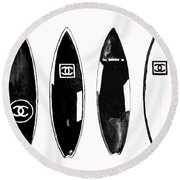 Chanel Surfboard  Black And White Round Beach Towel