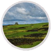 Changing Skies And Landscape Round Beach Towel
