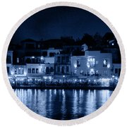 Chania By Night In Blue Round Beach Towel
