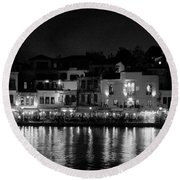 Chania By Night In Bw Round Beach Towel
