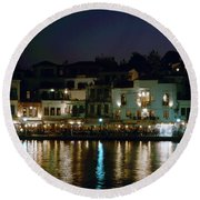 Chania By Night  Round Beach Towel