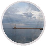 Chania Old Harbour Round Beach Towel