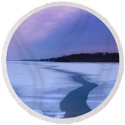Channel Through The Ice Round Beach Towel