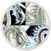 Chaos Dragon Fact W Fiction Round Beach Towel