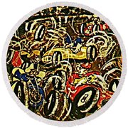 Chaos On The Track Round Beach Towel