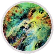 Chaotic Play Of Color Round Beach Towel