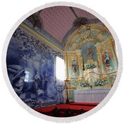 Chapel In Azores Islands Round Beach Towel