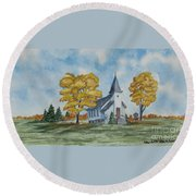 Chapel In Fall Round Beach Towel