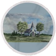 Chapel In Summer Round Beach Towel