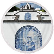 Chapel In The Azores Round Beach Towel