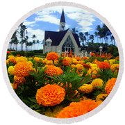 Chapel In The Sky Round Beach Towel
