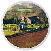 Chapel In The Valley Round Beach Towel