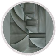 Charcoal Abstract Round Beach Towel