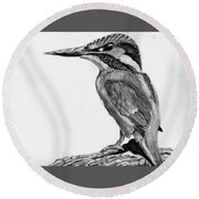 Charcoal Kingfisher Round Beach Towel