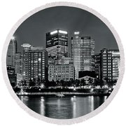 Charcoal Panoramic In Pittsburgh 2017 Round Beach Towel
