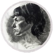Charcoal Portrait Of A Pensive Young Woman In Profile Round Beach Towel