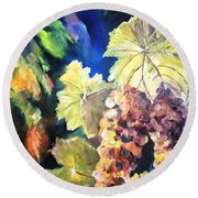 Chardonnay Vines Round Beach Towel