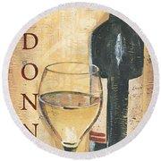Chardonnay Wine And Grapes Round Beach Towel