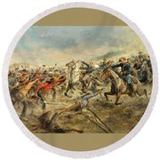 Charge Of The Seventh Cavalry Round Beach Towel