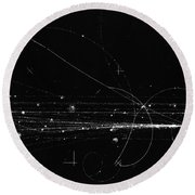 Charged Particles, Bubble Chamber Event Round Beach Towel