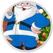Chargers Santa Claus Round Beach Towel