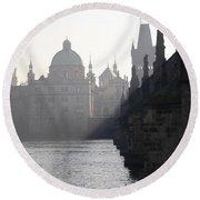 Charles Bridge At Early Morning Round Beach Towel