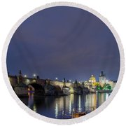 Charles Bridge At Night Round Beach Towel
